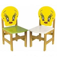 Twety Figürlü Ahşap Sandalye